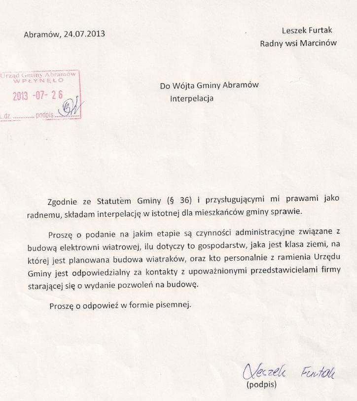interpelacja radnego z Marcinowa