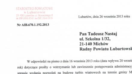 Starostwo nie wydało pozwoleń. Jest odpowiedź na interpelację radnego Tadeusza Nastaja