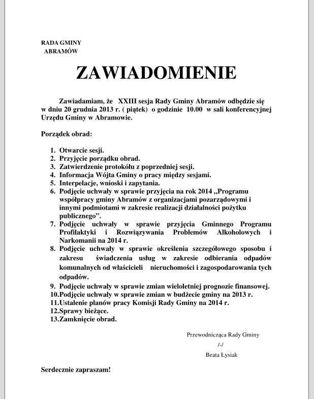 sesja rady 20.12.2013