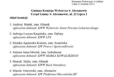 Skład Gminnej Komisji Wyborczej w Abramowie