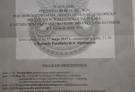 """17 Maja 2015 – Abramów – Uroczystość odsłonięcia pomnika. Biografia Jana Flisiaka ps. """"Chłopicki"""""""