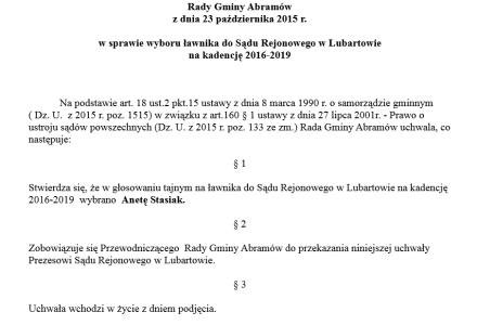 Wybory  ławnika na kadencję 2016 – 2019 – Uchwała Rady Gminy Abramów