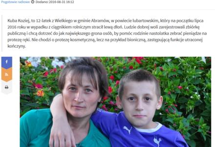 """W """"Radio Lublin"""" o zbiórce dla Kuby Kozieja"""