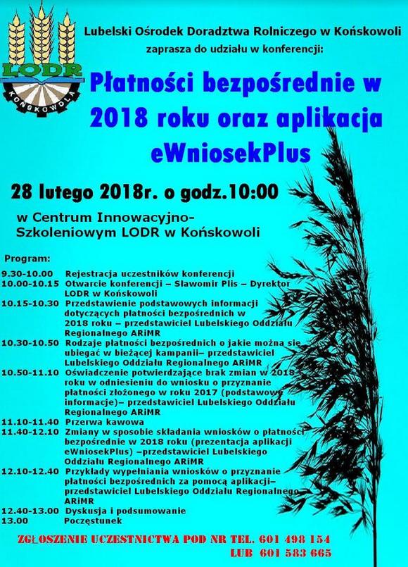 """28.02.2018 Końskowola – Konferencja """"Płatności bezpośrednie w 2018 roku oraz aplikacja eWniosekPlus"""