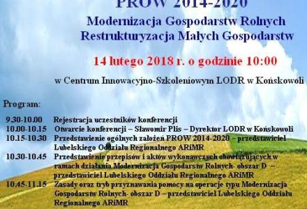 14 luty Końskowola, Seminarium – Zasady przyznawania płatności- Modernizacja Gospodarstw Rolnych